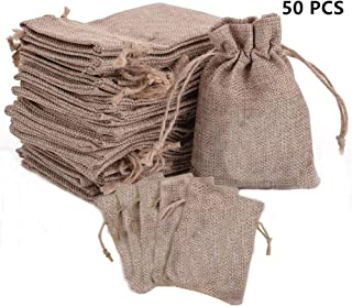 Drawstring Burlap Bags with Store Gift Bags Topwell 50PCS Resusable Jute Hessian Linen Goodie Bag 45.5'' Packing Storage for Wedding Bridal Shower Birthday Christmas Decorations Arts and DIY Craft