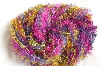Caribbean Sunrise Multicolor Rose Yellow Blue Mohair Loopy Loop Boucle Yarn