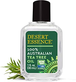 Desert Essence 100% Australian Tea Tree Oil - 1 Fl Oz - Therapeutic Grade Essential Oil - Skin Irritation - Glowing Skin - Home Cleansing - Refreshing - Natural Glow - Pedicure Regimen - Long Lasting
