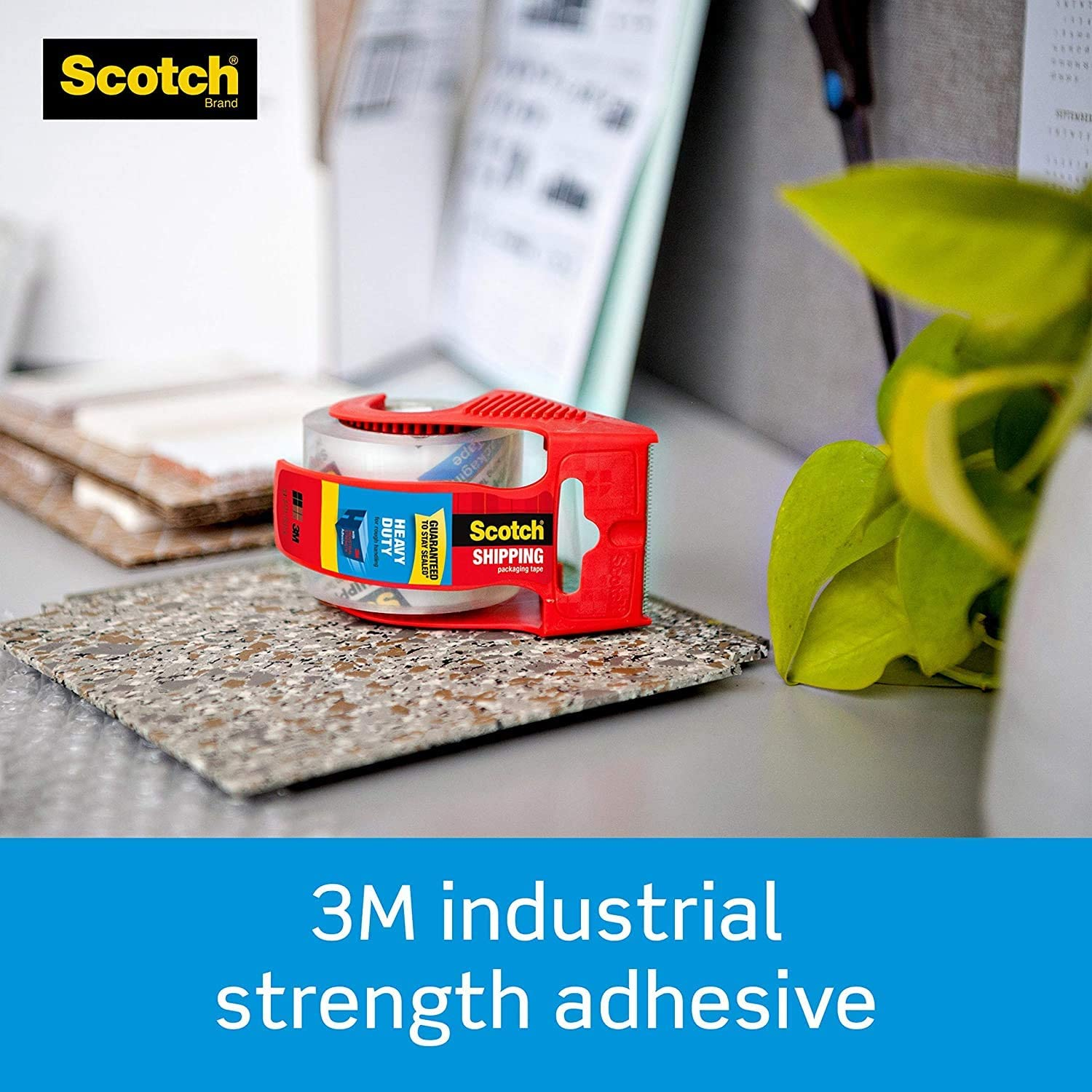 Clear Shipping /& Moving 1.5 Core 6 Rolls with Dispenser Great for Packing 1 Pack 1.88 x 22.2 Yards Scotch Heavy Duty Shipping Packaging Tape