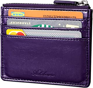 AslabCrew Minimalist Leather Zipper RFID Blocking Front Pocket Wallet, Slim Card Wallets