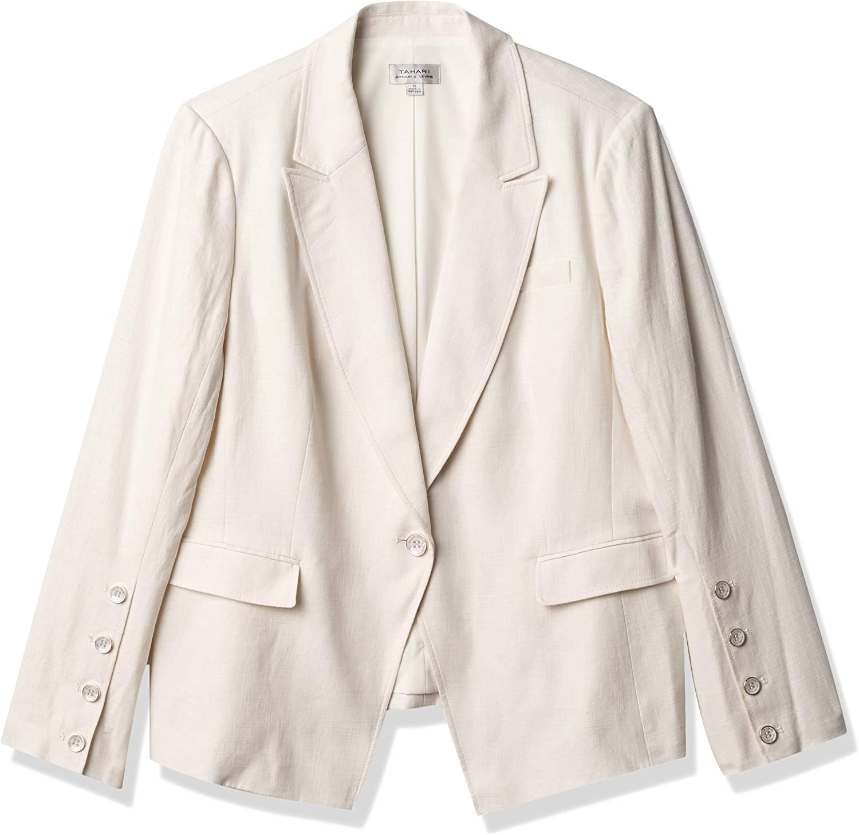 Tahari ASL Women's Front Button Lapel Jacket ☆最安値に挑戦 Peak Sleeve 卸売り