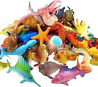 Funcorn Toys Ocean Sea Animal, 52 Pack Assorted Mini Vinyl Plastic Animal Toy Set, Realistic Under The Sea Life Figure Bat...