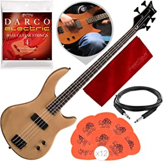 Dean E09M Edge 09 Mahogany Electric Bass Guitar, Satin Natural with Accessory Bundle