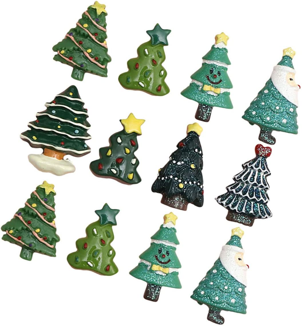 PRETYZOOM 20pcs Christmas Columbus Max 72% OFF Mall Tree Resin Flatback Charms Beads Xmas