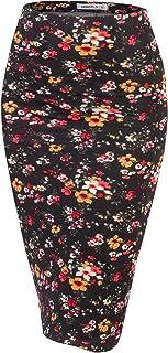 تنورة قلم رصاص متوسطة الطول محبوك من دبلجو مع فتحة خلفية للنساء بمقاس إضافي