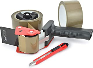 Rapesco 960 Tape Dispenser with 2 Brown Packing Tapes & Knife