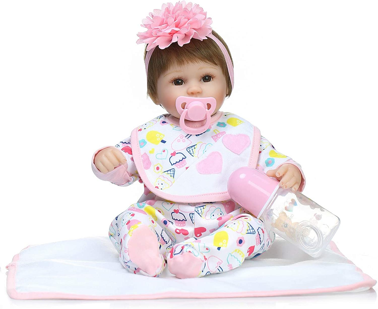 16 inch ice cream clothes doll Reborn Baby Handmade Realistic Newborn Baby Kids Gift for Ages 3+Play house game