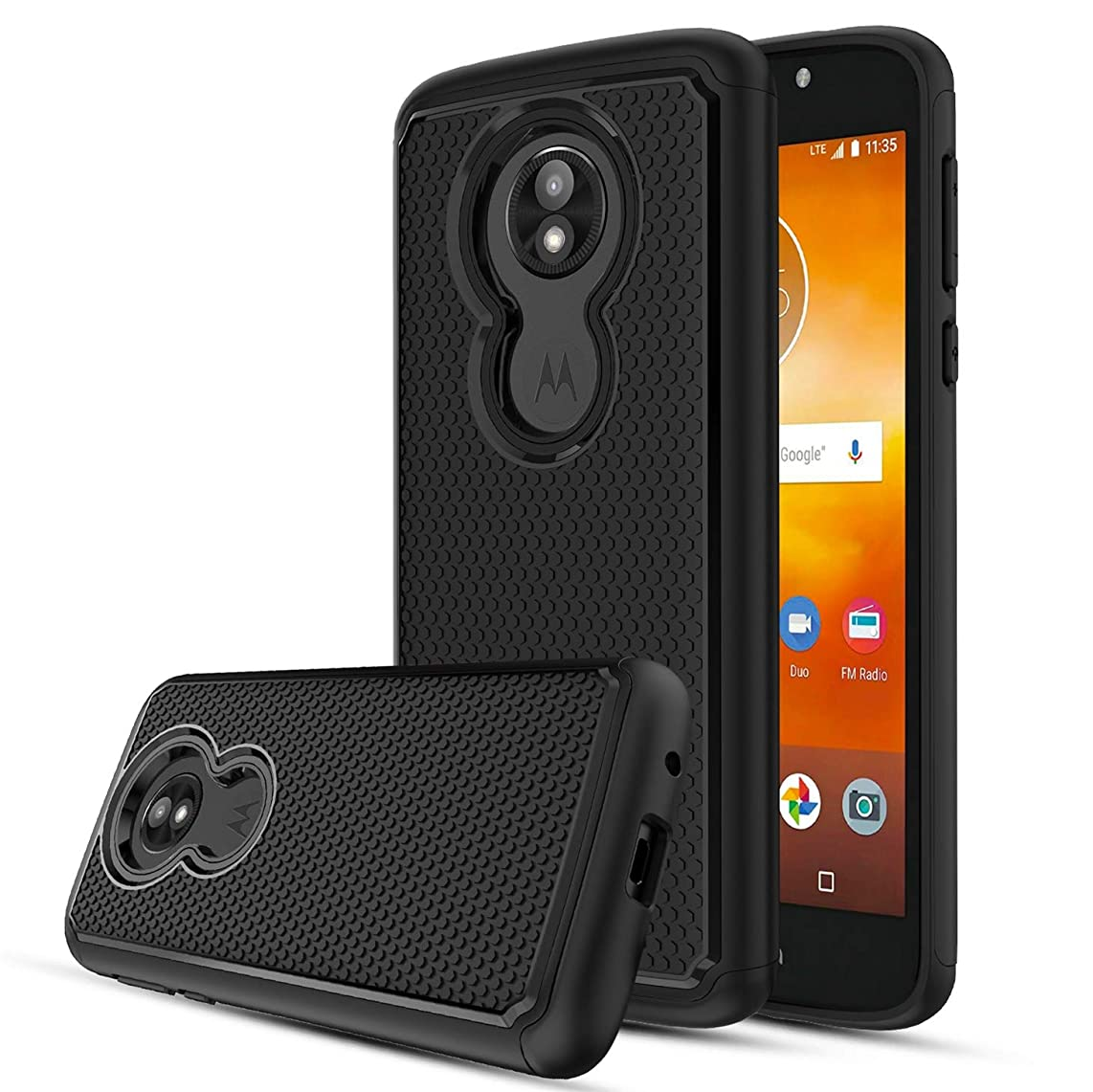 Likeny Moto E5 Play Case,Motorola E5 Cruise Case with Screen Protector,Rubber Silicone Plastic Scratch Proof Cover for Men/Women-Black