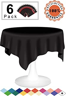 Black Plastic Tablecloths Disposable Table Covers 6 Pack Premium 84 Inches Round Table Cloth for Round Tables up to 6 Feet and for Picnic BBQ Birthdays Weddings any Events Occasions, PEVA Material