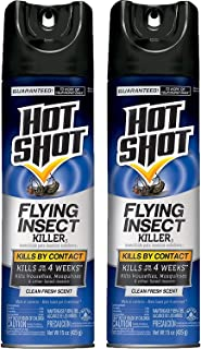 Hot Shot Flying Insect Killer3 (Aerosol), Clean Fresh Scent, 15 Ounce, (Pack of 2)