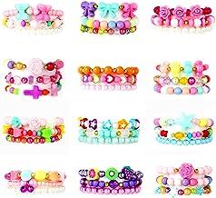دستبند PinkSeep Beaded برای کودکان و نوجوانان - 12 بسته 36 PC، دستبند پلاستیکی دختر کوچولو، دستبند پروانه گل پروانه، Party Favor