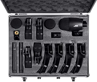 Monoprice 7-piece Drum and Instrument Mic Kit | With Mounts and Case, balanced XLR connections - Stage Right Series