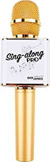 Sing-along PRO Portable Bluetooth Karaoke Microphone and Bluetooth Stereo Speaker - All-in-one - Perfect for Birthday or Home Party - All Smartphone (Gold)