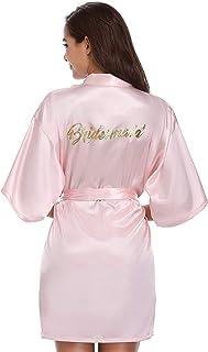 Vlazom Kimono Femme Bride Satin Peignoir Mariee Bridemaid Robe de Chambre