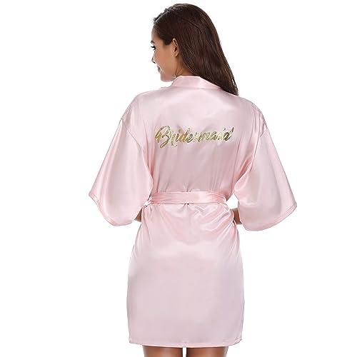 7509f08c94 Vlazom Bride Bridesmaid Robes Satin Bridal Party Robe Dressing Gwons,  Morning of Wedding Day Robes