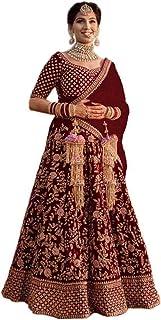 Jagruti Creation Women's Velvet Semi-Stitched Lehngha Choli (Green)