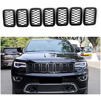 NO7RUBAN Fit for 2017-2018 Jeep Compass 7Pcs Chrome Black Front Grill Grille Cover Trim ABS Front Grille Grill Cover Frame Decoration