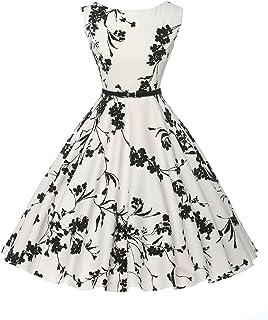 GRACE KARIN 50s Blumenkleid Knielang Petticoat Kleider Vinatge Rockabilly Kleid CL6086