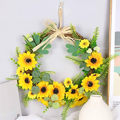 wholesale Artificial Sunflower Wreath Spring Summer Faux Floral Wreath Front Door Hanging sale Garland for wholesale Indoor Outdoor Home Wedding Window Wall Decoration Home Decor for Easter Mothers' Day,12'' Base outlet online sale