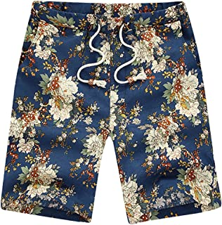 Vickyleb Board Shorts Mens Swimwear Trunks Sports Work Pants Summer Casual Printed Surf Beach Shorts with Drawstring