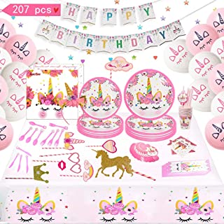 """Toyerbee Unicorn Party Supplies Set 207pcs Happy Birthday Decorations Birthday Party Kit Including Balloons, Banner,Tableware.Plates(7""""and 9""""),Knives Forks Cups Serves 16 Guests Party Favors for Girls"""
