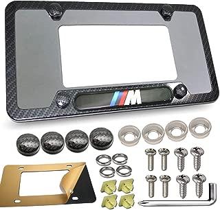 License Plate Frame for BMW- Printing Carbon Fiber Metal Aluminum Black License Plate Holder Cover, 3D M Logo for BMW License Tag Frame with Stainless Steel Plate Screws & Caps Set