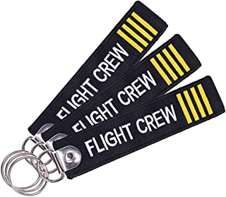 Pilot Keychain Tag with Key Ring, Melife 3 Pack Flag Keychain for Motorcycles, Scooters, Cars and Gifts -Flight Crew