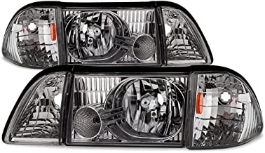ACANII - For 6PCS 1987-1993 Ford Mustang Factory Style Headlights Replacement Driver + Passenger Side Pair