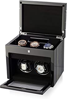 Double Watch Winder Box for Self-Winding 2 Automatic Watches and 3 Watches Storage Compartment with LED Case Backlight, LCD Display for All Watch Brands and All Watch Sizes