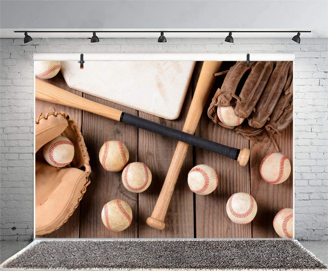 12x8FT Baseball Equipments on Wooden Board Backdrop Bats Leather Balls Handle Wood Blank Hardwood Texture Photography Background Happy New Year Xmas Photo Studio Prop Vinyl Wallpaper