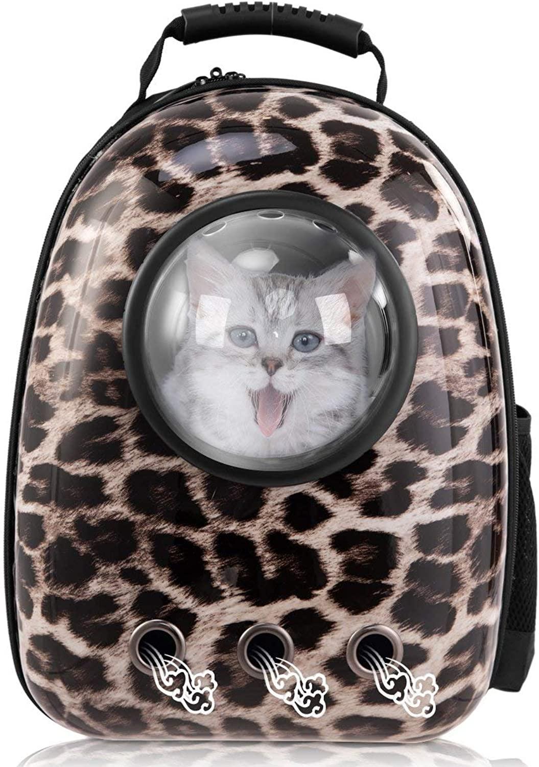 Pet Carrier Travel Bag,TEMACOO Cat Space Capsule Backpack Dog Bubble Traveler Knapsack Multiple Air Vents Breathable Backpack Portable Outside Handbag Fit Puppys Kitties Petite Animals (Leopard Print)