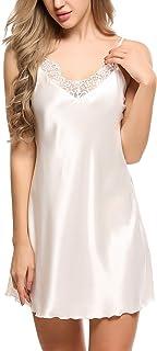 Ekouaer Sleepwear Satin Lace Chemise Nightgown Sexy Lingerie Silk Negligee Sling Nightshirt Night Slips for Women XS-XXL