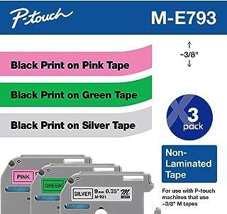 شريط 3/حزمة، من Brother ME793 P-touch M، أسود على وردي، أسود على أخضر، أسود على فضي