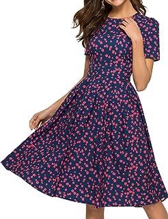 فستان سهرات فينتاج صيفي متوسط الطول باكمام قصيرة ومزين بنمط الازهار للنساء من سيمبل فليفور