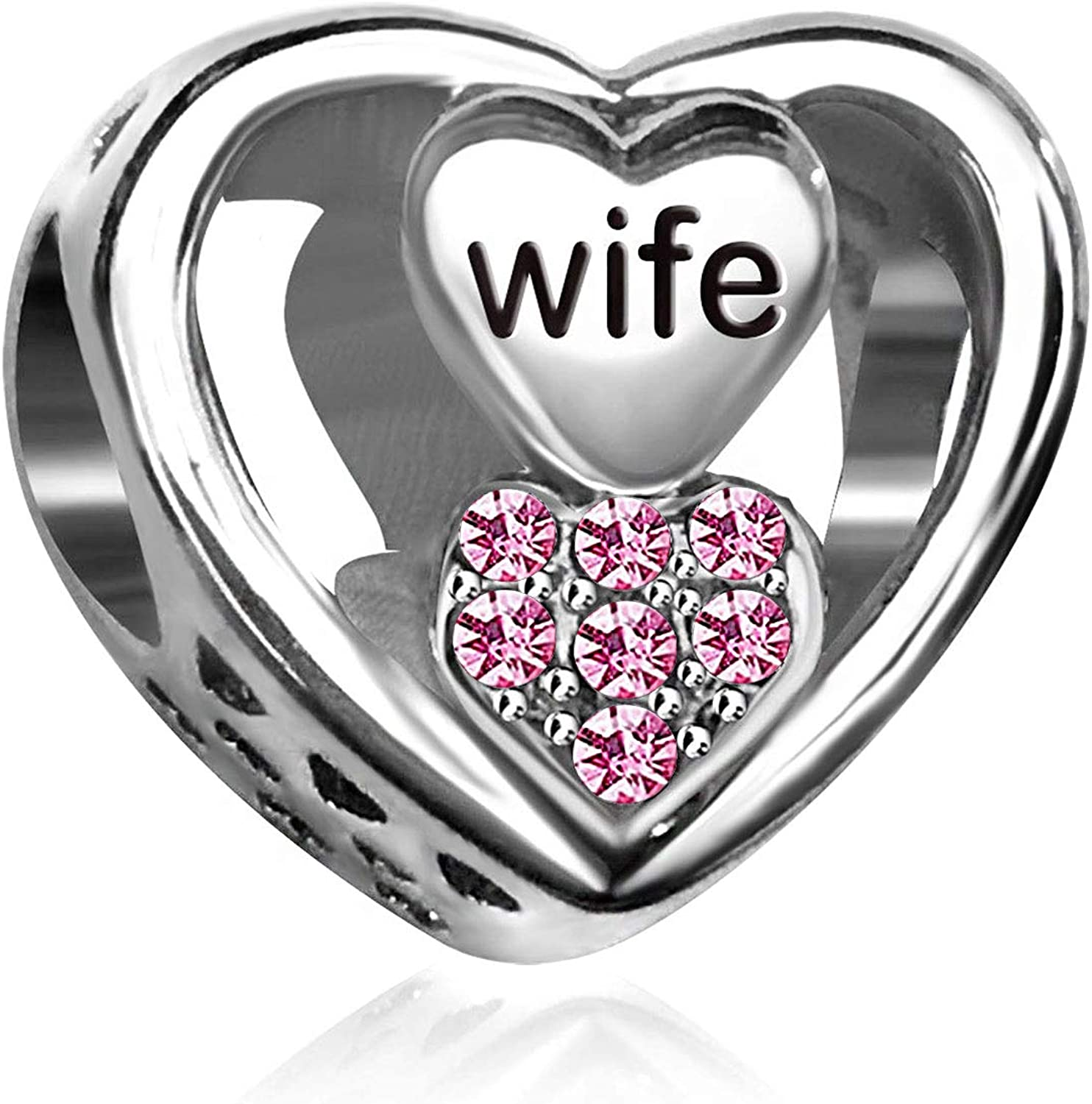KunBead Wife Limited Over item handling ☆ time cheap sale Love Heart Crystal Birthstone for Bracelets Charms