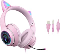 $38 » Sponsored Ad - Cat Ear Gaming Headsets with Mic RGB LED Light, ZURI SANA Flashing Stereo Headphones 7.1 Stereo Sound Surro...