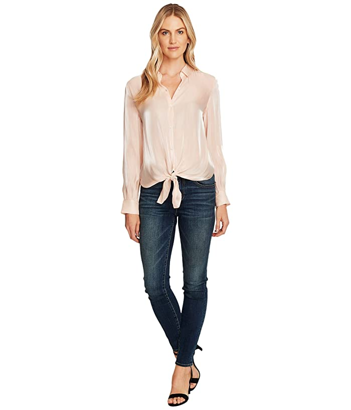 Vince Camuto  Long Sleeve Button-Down Tie Front Iridescent Blouse (Apricot Cream) Womens Clothing