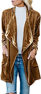 Womens Turn Down Collar Gold Velvet Windbreaker Flight Open Front Coats