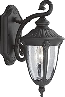 Progress Lighting P5820-31 Cast Aluminum Wall Lantern with Clear, Seeded Glass, Textured Black
