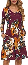 LAINAB Women's Floral Fall Long Sleeve Pockets Casual Tunic T Shirt Dress