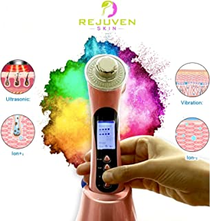 Rejuven Skin 5-in-1 Anti aging device combining Galvanic, Light therapy, Wave and Microvibration o reverse aging, tighten skin. reduce fine lines and wrinkles