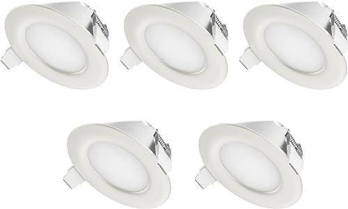 TEVEA - IP44 LED Spot Encastrable   aussi pour salle de bains   4W 230V   Lot de 5 Spots (Blanc Chaud)