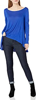 Paper + Tee Women's Scoop-Neck Long-Sleeve High/Low Knit Top