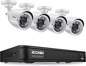 ZOSI H.265+ 1080p Home Security Camera System Outdoor Indoor, CCTV DVR 8 Channel and 4 x..