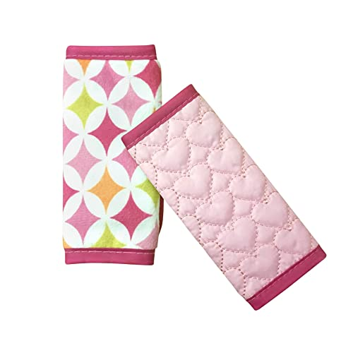 Nuby Car Seat Reversible Strap Covers 2 Pack, Pink