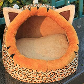 GGGGG Pet Supplies Kennel Winter Cotton Kennel Cheetah Moisture-Proof Warm pet nest