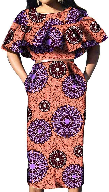 African Dresses for Women Party Wear Wax Print Ankara Not 2 Pieces Beige