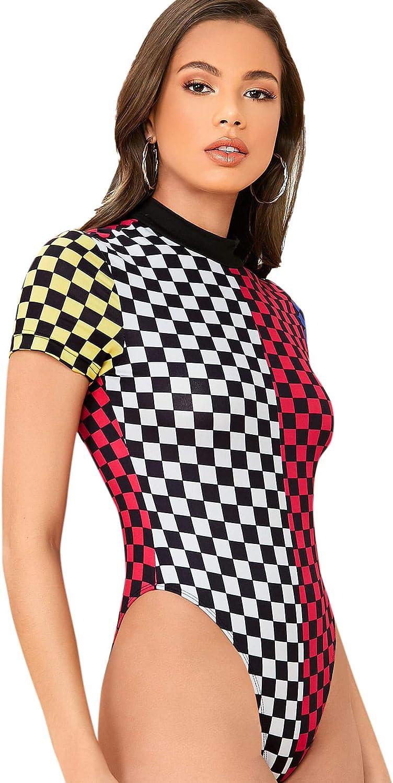 Romwe Women's Plaid Short Sleeve Mock Neck Skinny Basic Bodysuit Jumpsuits