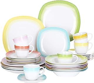 VEWEET, série Spark, Service de Table, 30 pièces, pour 6 Personnes, en Porcelaine.